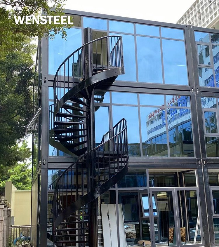 portable office building with spiral stairs